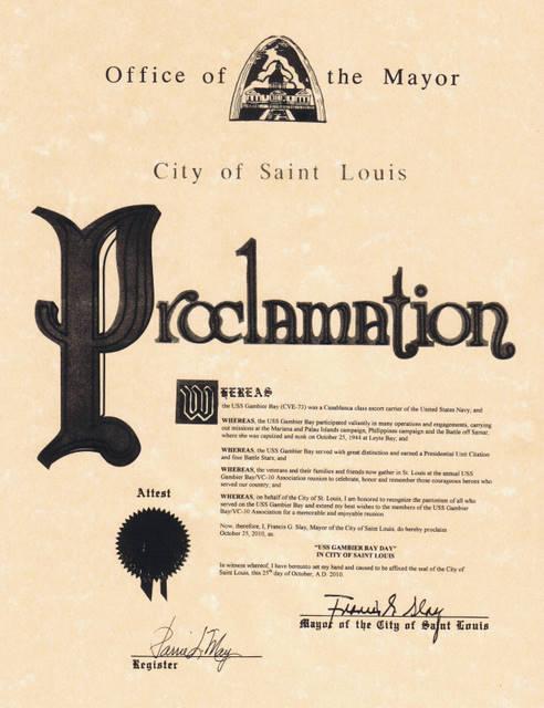 St. Louis Proclamation - Mayor Slay