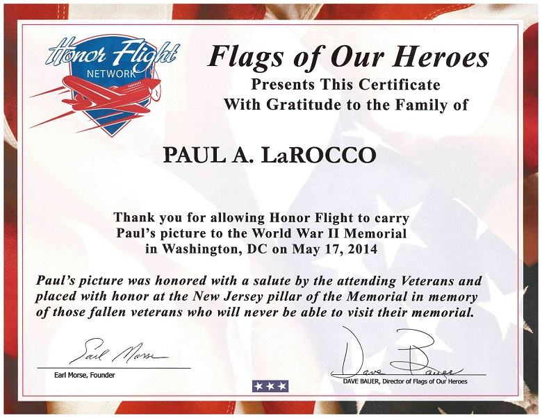 Dad - Flags of Our Hereos - Certificate