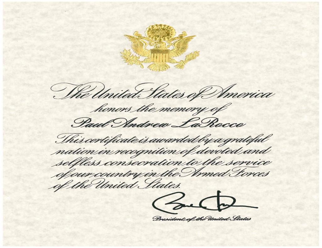Presidential Memorial Certificate