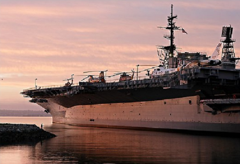 USS Midway at sunset. San Diego, California, USA