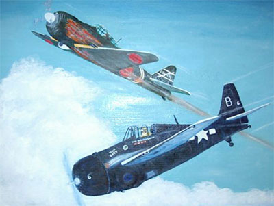 The painting below is by VC-10 fighter pilot Joseph McGraw. The painting depicts the fifth enemy aircraft that he shot down during the Battle of Leyte Gulf.