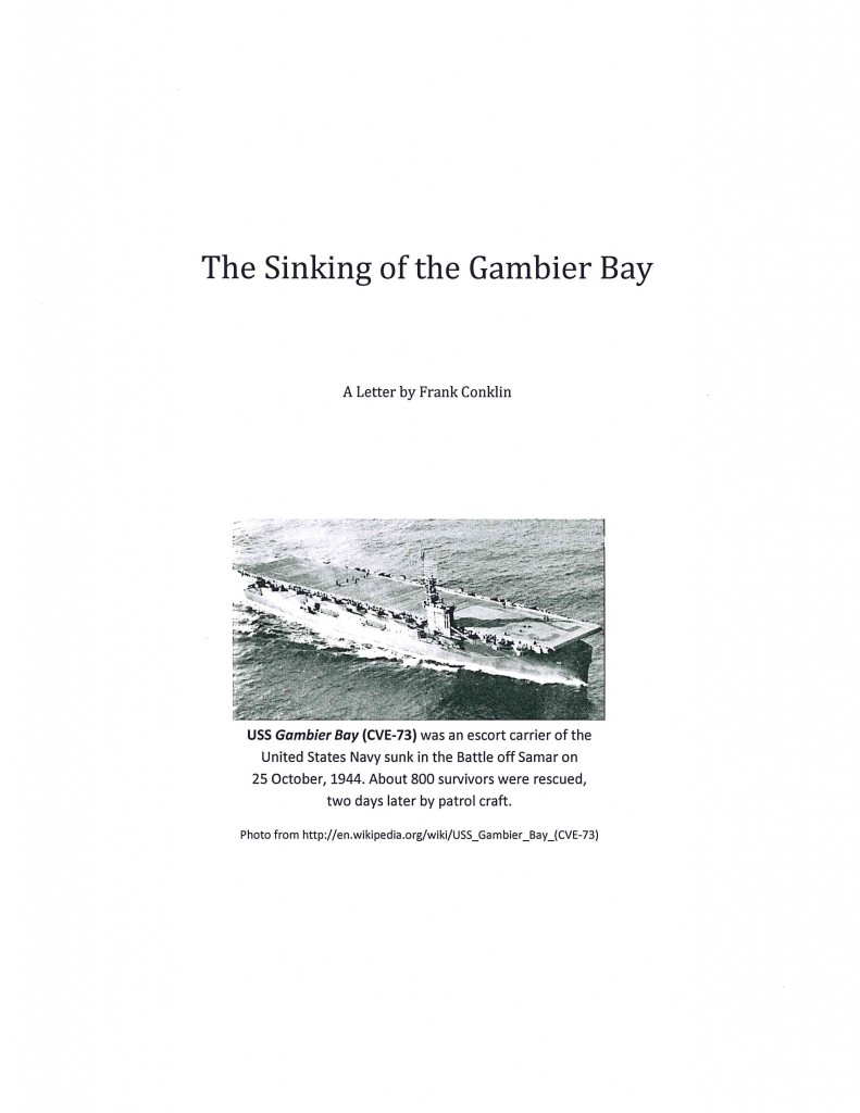 Sinking of Gambier Bay Letter