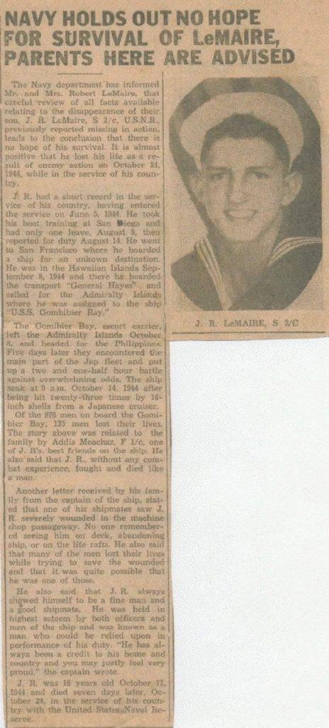 JR LeMaire - Newspaper Posting