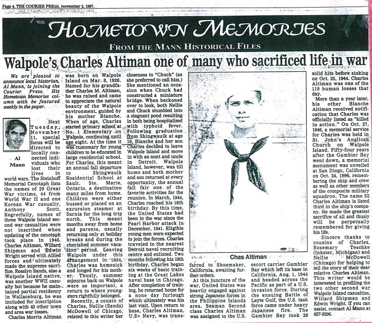 Charles Altiman Newspaper Article