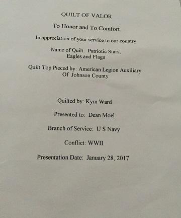 Dean - Quilt of Valor Certificate