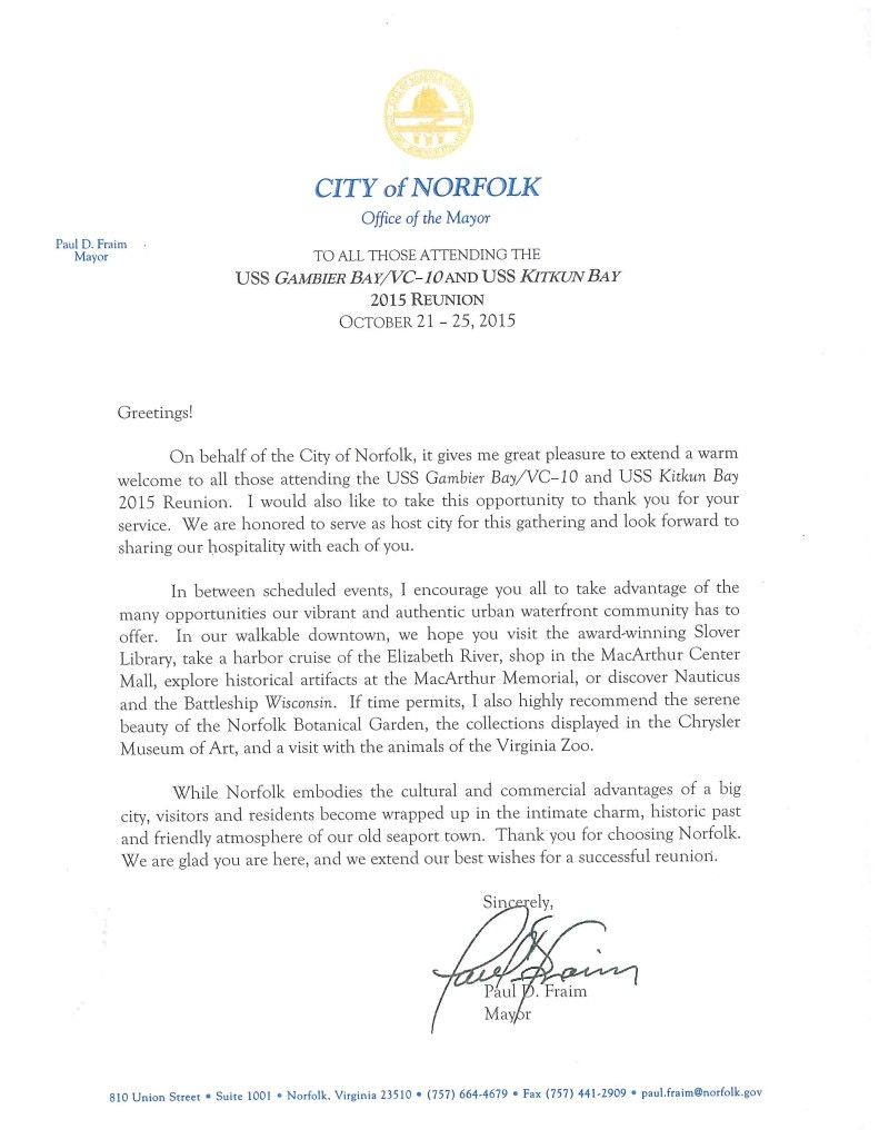 Norfolk Mayor Letter