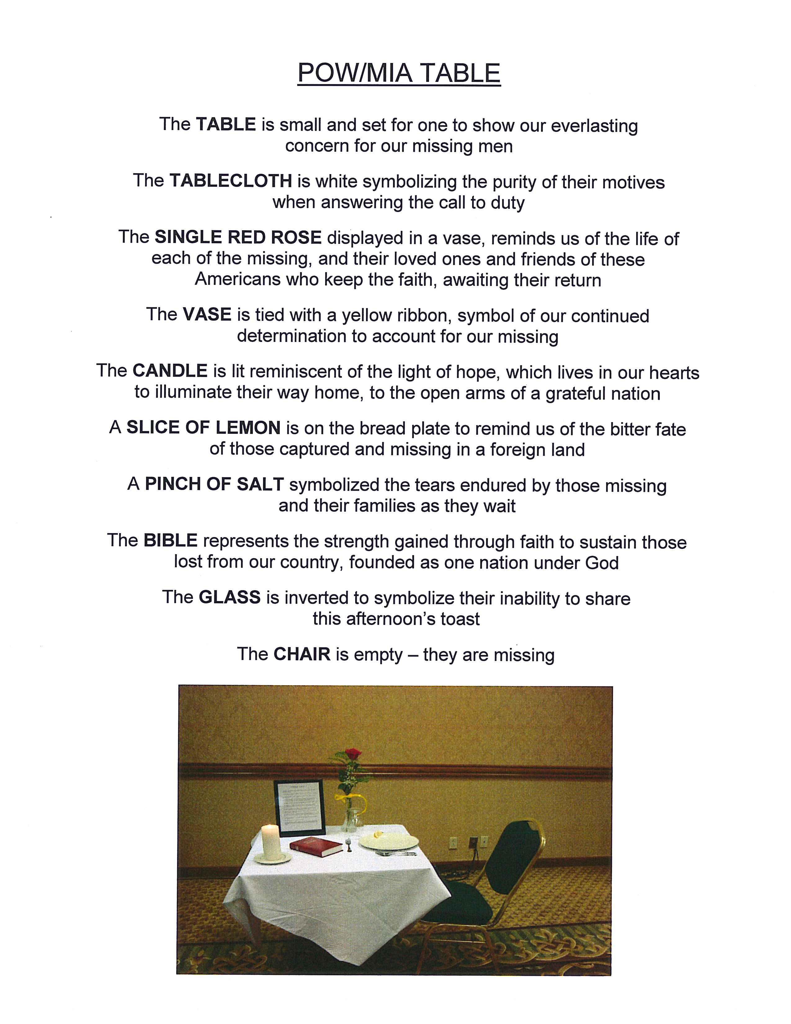 Accomplished image in missing man table poem printable